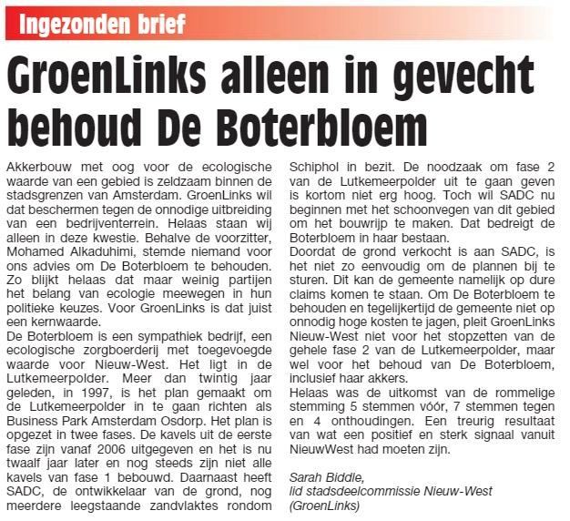 Alleen GroenLinks wil behoud De Boterbloem
